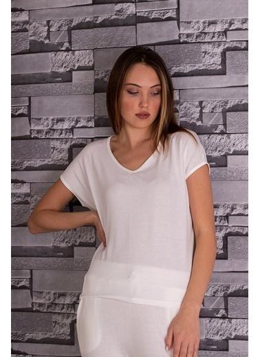 Stamina  Bayan Derin V Yaka Düşük Kısa Kol Bluz-5VS13 Beyaz